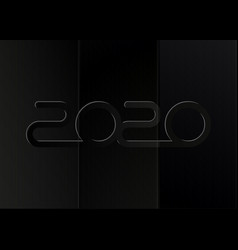 happy new 2020 year in black paper style vector image