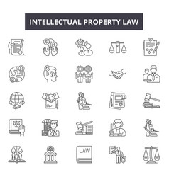 Intellectual property law line icons signs vector