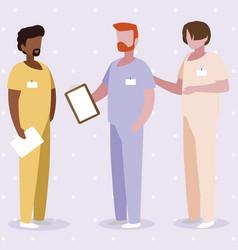 Interracial male medicine workers with uniforms vector