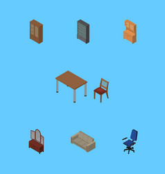 Isometric design set of sideboard office vector