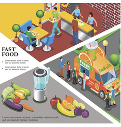 isometric fast food template vector image