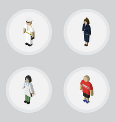 Isometric people set of doctor seaman vector