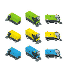 isometric road sweeper dust cleaner road sweeper vector image