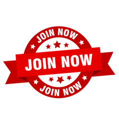 join now ribbon join now round red sign join now vector image