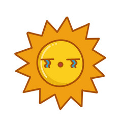 kawaii sad sun emoticon cartoon vector image