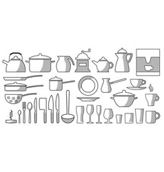 kitchen dishes set bw vector image