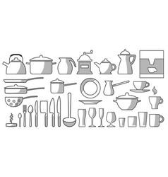 Kitchen dishes set bw vector