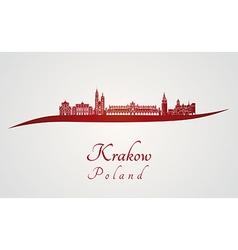 Krakow skyline in red vector