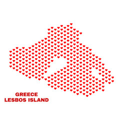 lesbos island map - mosaic of valentine hearts vector image