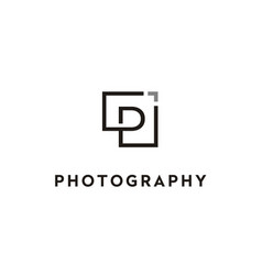 letter initial p photo photography lens frame logo vector image