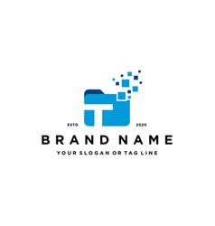 Letter t file folder logo design vector