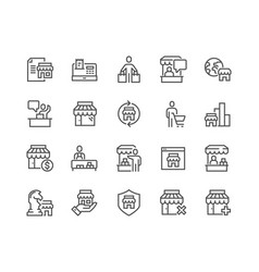 line shopping and market icons vector image