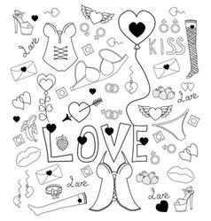 Love doodle set about vector