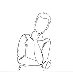 man is thinking man - continuous line drawing vector image