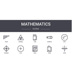 Mathematics concept line icons set contains icons vector