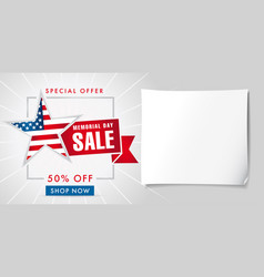memorial day sale special offer banner template vector image
