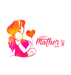 Mom and child silhouette for happy mothers day vector
