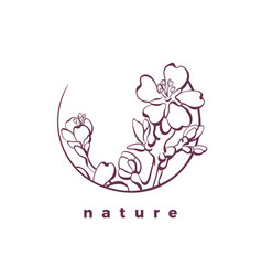 nature logo in circle organic card almond tree vector image