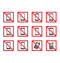 No mobile phone icon set cell phone prohibited vector