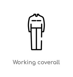 Outline working coverall icon isolated black vector