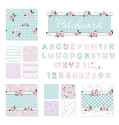 Patchwork girly decorative elements big set vector