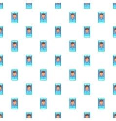 Photo in mobile phone pattern cartoon style vector