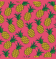 Pink background with pattern of pineapple fruits vector