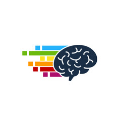 Pixel art brain logo icon design vector
