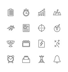 planning organization - flat line icons vector image