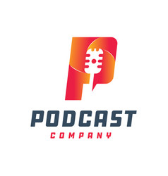 podcast logo design letter p vector image