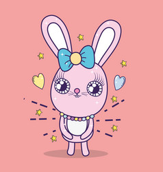 rabbit with ribbon bow to valentine day vector image