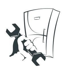 Refrigerator repair silhouette vector