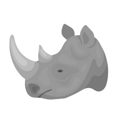 Rhinoceros icon in monochrome style isolated on vector