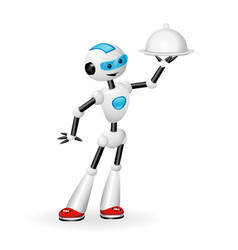 robot waiter with cloche isolated on white back vector image