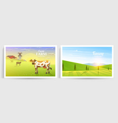 rural landscape and cows farm agriculture vector image