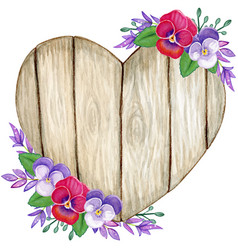 rustic watercolor wooden heart with pansy flowers vector image