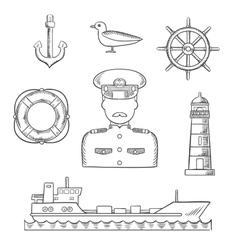 Sailor seaman and captain profession design vector image