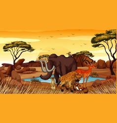 scene with animals in desert field vector image