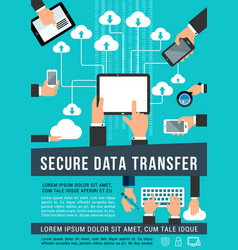 Secure data transfer data technology poster vector