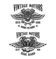 set emblems with vintage winged motors design vector image