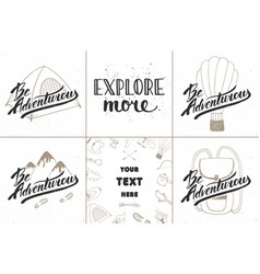 set of adventure and travel hand drawn unique vector image