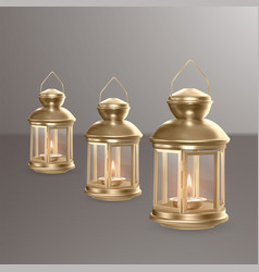 set of golden realistic lanterns vector image