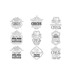 Set of hand drawn monochrome circus show promotion vector