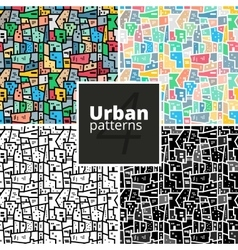Set of urban patterns textures vector