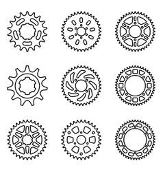 Set sprocket wheel motorcycle parts vector