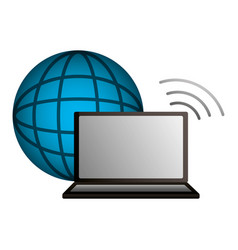 shopping online computer world connection vector image
