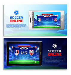 soccer online broadcast banners vector image