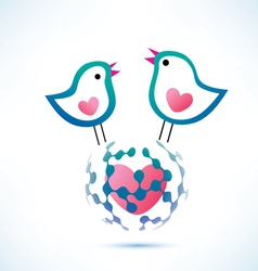 social network concept two birds on the globe vector image