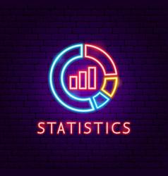 statistics neon label vector image