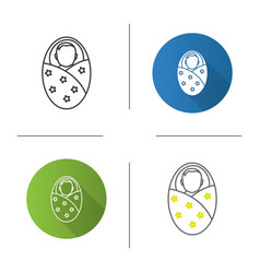 Swaddled baby icon vector